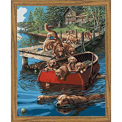 Plaid Creates Paint by Number Kit 16 by 20-Inch, 22045 Dog Paddle