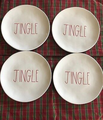 "New Rae Dunn Magenta Red LL 8"" Christmas Salad Plate ""JINGLE""  set of (4) HTF"