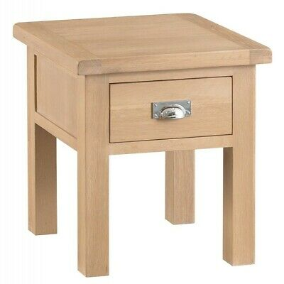 Langham Lime Washed Oak Furniture Lamp Side/End Sofa Table with Drawer