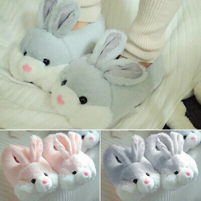 Winter Warm Plush Bunny Slippers Adults Unisex Novelty Rabbit Indoor Home Shoes