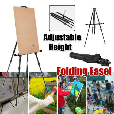 Iron Artist Folding Painting Easel Adjustable Tripod Display Stand W/ Carry Bag