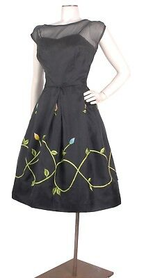 Vintage 50s Black Organza Full Skirt Party Dress w/Embroidery & 3D Flowers S