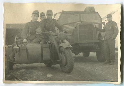 German Wwii Photo From Archive: Wehrmacht Soldiers On Motorcycle With Sidecar