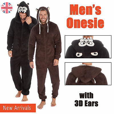 1Onesie Mens Adult Boys All In One Hooded Soft Fleece Jumpsuit Animal Print Zip