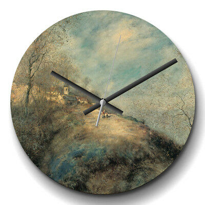 Large Wall Clock Silent Jean-Francois Raffaelli The Route Abandoned Painting