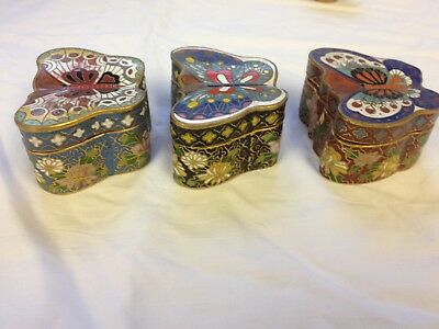 3 x Vintage Antique Brass Cloisonne Painted Enamel Trinket Pill Box Butterfly