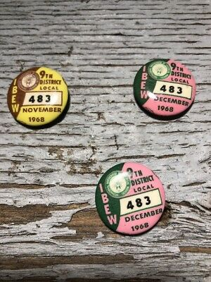 "IBEW 9th District Local 483 Pins ""Lot of 3"" 1968 2 Dec 1 Nov"
