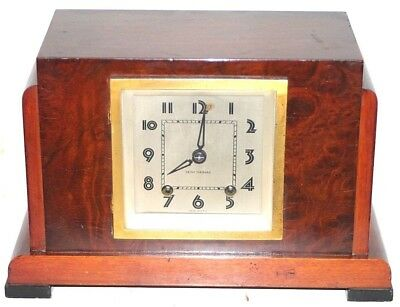 "Antique Seth Thomas ""console"" 1935 Art Deco Skyscraper Mahogany Mantel Clock."