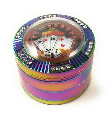 Dice Poker Casino Rainbow Tobacco Herb 4 Pcs 2.5 Inch Colorful Crusher Grinder