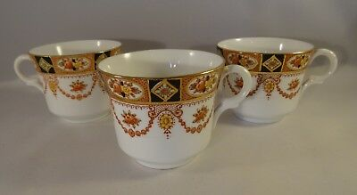 3 Vintage W Hudson Sutherland China Gilded Swag Design Tea Coffee Cups c1940 VGC
