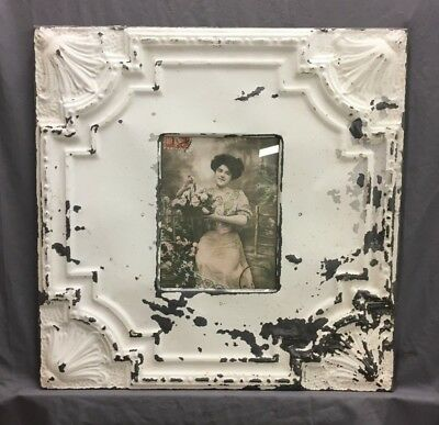 Antique TIN CEILING Metal 8X10 Cream Picture Frame White Recycled 517-18C