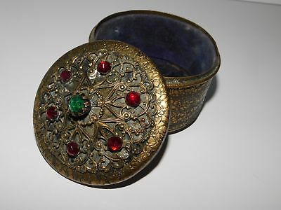 Vintage Gold Jewelry Trinket Box Filigree Red And Green Stones On Lid