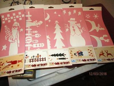 """5 Pc Lot Holiday Stencils For Crafting New In Package Delta 1998 5.25 X 13"""""""