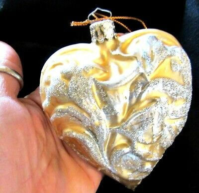Christborn LG Gold w/Silver Mica Molded Glass Christmas Ball Ornament-Germany-4""