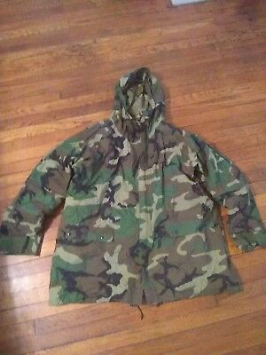 Military Issued Parka Improved Rainsuit Size LRG Woodland Camo with CW LINER