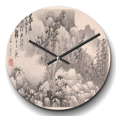 Large Wall Clock Silent 32cm Home Decor Gong Xian Landscape Asian