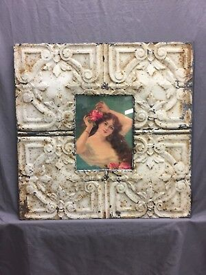 Antique TIN CEILING Metal 8X10 Picture Frame White Recycled 520-18C