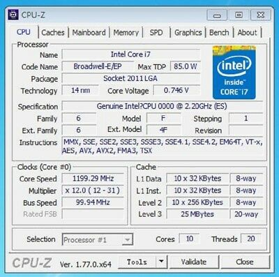 Intel Xeon E5 2630 V4 ES QHVK 2.1GHz 10Core 25MB 20Threads 14nm 85W Processor