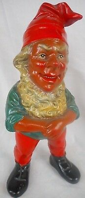 Vintage German Heissner Terracotta Gnome  - Detailed Traditional Gnome Face