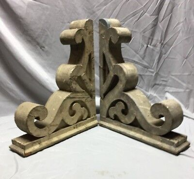 Pair Antique Wood Corbels Roof Brackets Victorian Shabby Shelf Vintage 523-18C