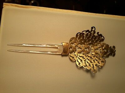 Fully Marked Sterling And Mother Of Pearl Antique Hair Comb Mint No Reserve!