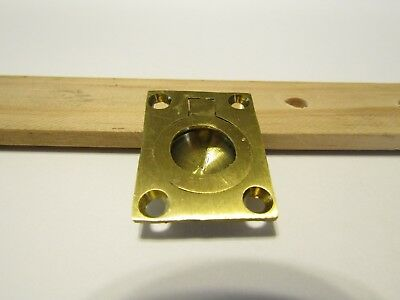 Vintage NOS Small BRASS RING Pull Flush Mount Inset Solid Cast Rectangular Base