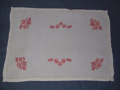 Vintage Hand Embroidered Table Topper - Tray Cloth    Pink Flowers