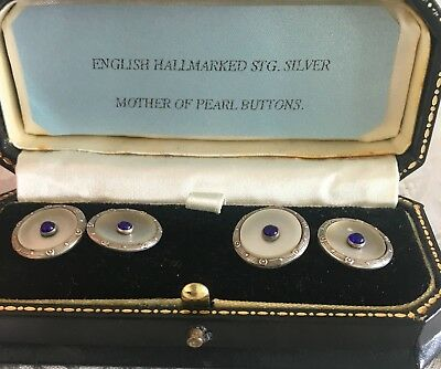 Vintage / Antique English Hallmarked Stg. Silver And Mother Of Pearl Buttons 4