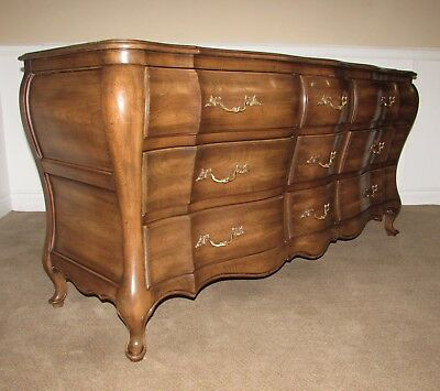Vintage Union National Walnut Dresser, 9 Drawer Low Chest, French Style, Nutmeg
