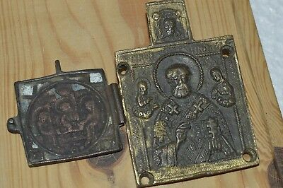 19th ORIGINAL Antique Icon ! Bronze Russian Orthodox Saint NICHOLAS Holy Trinity