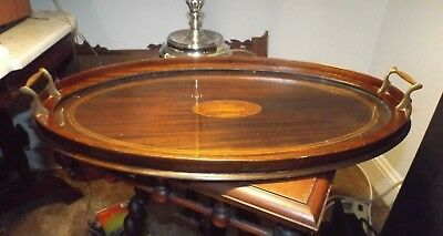 Antique Edwardian Inlaid Mahogany Oval Brass Handled Serving Platter Tray BEAUTY