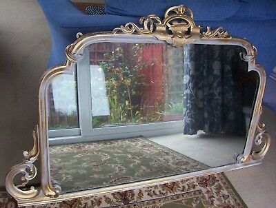 "Antique large Decorative Wall Mirror 34"" x 57.5"" Original Plate Back Boards"