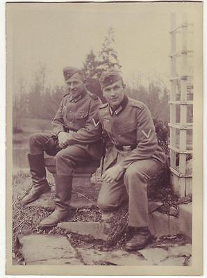German Wwii Photo From Archive: Wehrmacht Soldiers Posing On Camera