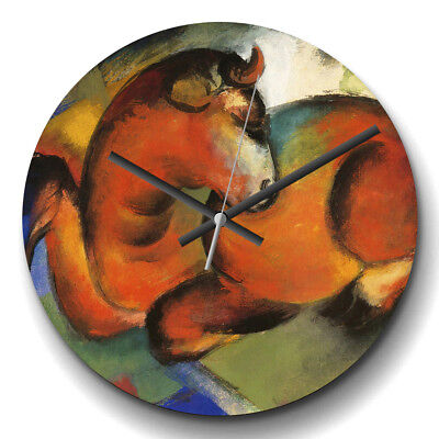 Large Wall Clock Silent 32cm Home Decor Franz Marc The Red Bull Painting