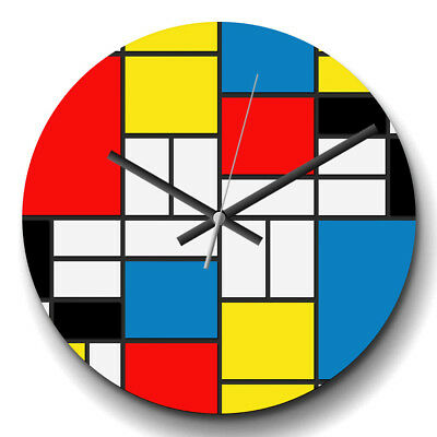 Large Wall Clock Silent 32cm Home Decor Piet Mondrian Style Of Painting