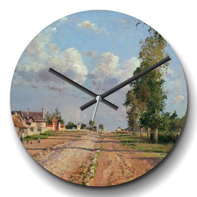 Large Wall Clock Silent Home Decor Camille Pissaro Route to Versailles Painting