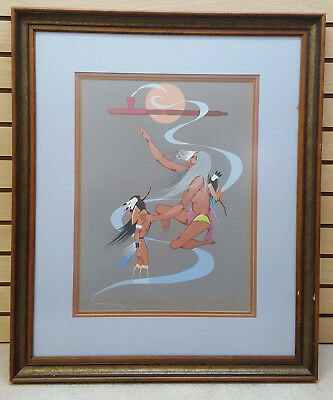 "1973 Framed 31"" X 26"" Original Native American Indian Painting By Mars Biggoose!"