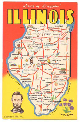 Illinois Map, Land of Lincoln c1960 Prairie State, Violet State Flower