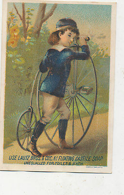 C9814   Victorian Trade Card Lautz Bros Soap Unicycle