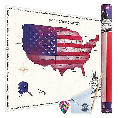 Scratch-Off USA Large Travel Tracker Map Wall Poster of The United States