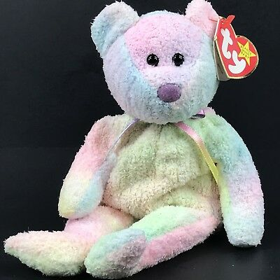 """Ty Beanie Babies Baby """"Groovy"""" Bear Pastel Colors Retired DOB JAN 10, 1999 GIFT"""