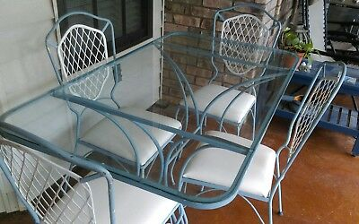 Mid Century Vintage Wrought Iron Patio Table and Chairs
