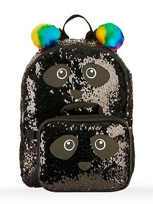 "Panda 2-Way Sequins Critter 16"" Backpack w/detachable Lunch Bag Black/Silver New"