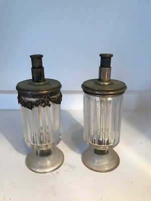 """Glass and Brass 5"""" Tall Bottles Believed to be Antique Salt and Pepper Shakers"""