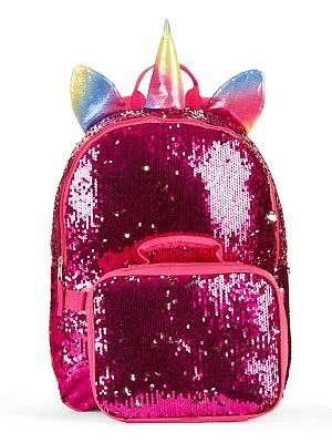 "Unicorn 2-Way Sequins Critter 16"" Backpack w/detachable Lunch Bag Rainbow/Purple"