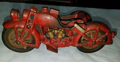 Rare Hubley Cast Iron Motorcycle Electric Light Toy Harley-Davidson Indian