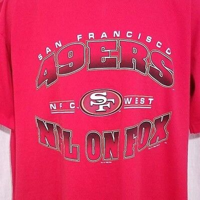 c5a3f260f35 San Francisco 49ers Mens T Shirt Vintage 90s NFL On FOX Made In USA Size  Large