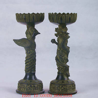 Chinese Bronze Handwork Carved Dragon &Phoenix Candlestick W XuanDe Mark QT053+2