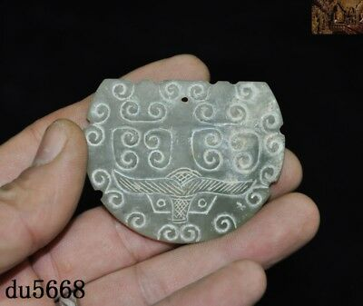 """2""""Natural Hetian Old jade carved Han Dynasty animal beast surface amulet Pendant"""