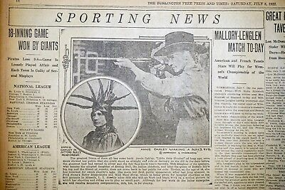 Annie Oakley Shoots For Charity - 1922 Burlington Vermont Sports Page